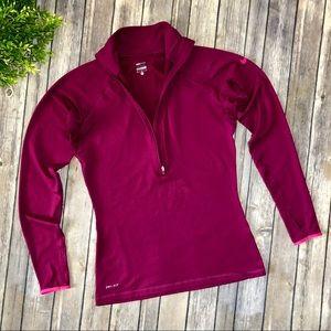 Nike Pro Pink Hyperwarm Half Zip Long Sleeve Top